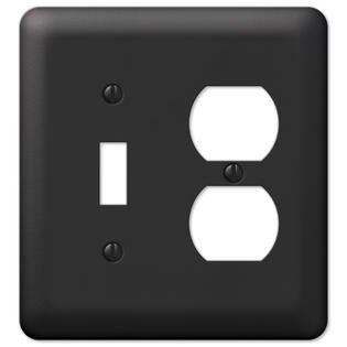 Black Metal Toggle Switch Duplex Outlet Wall Plate Cover Combo Combo Hall Light Outlet