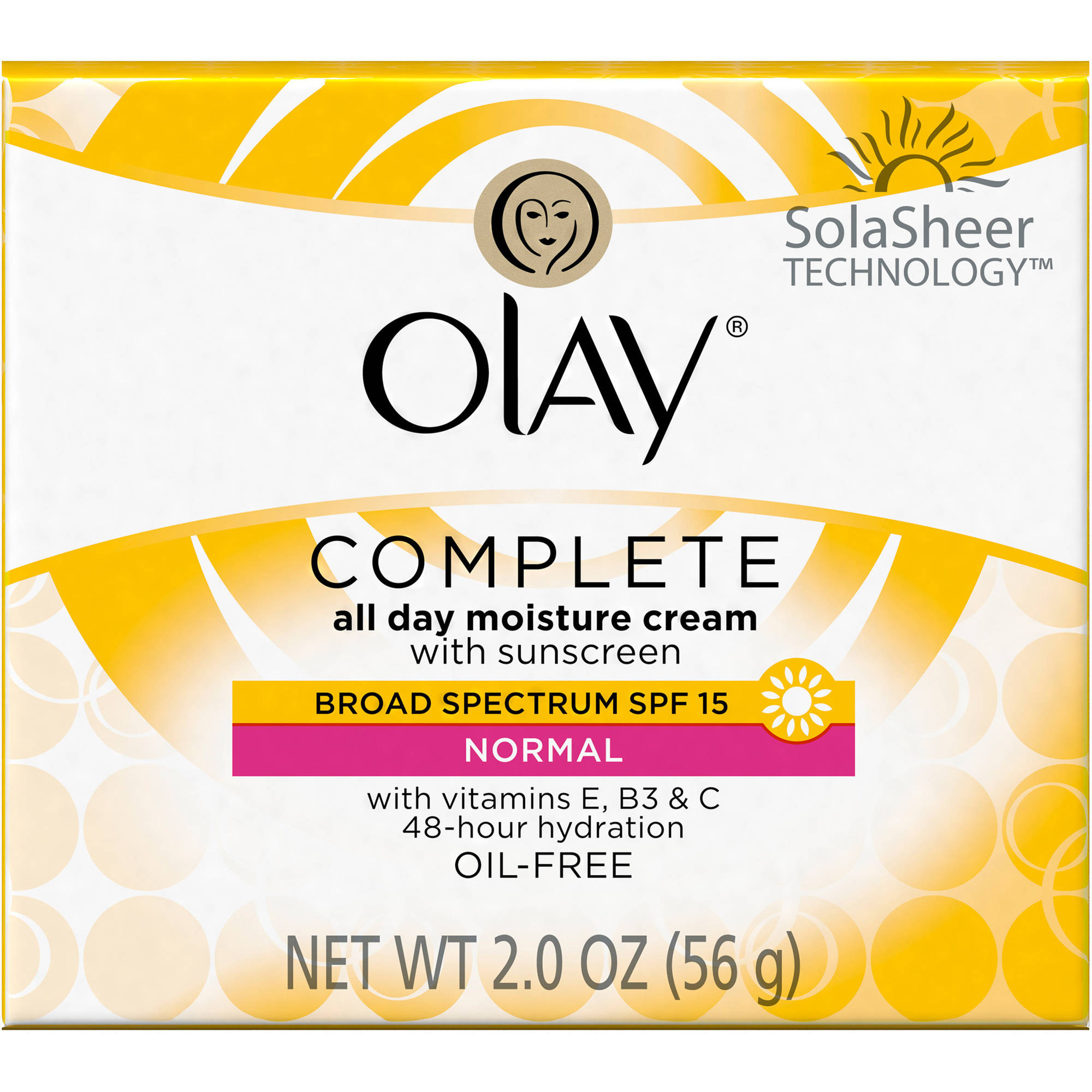 Olay Complete All Day Facial Moisturizer Cream With Sunscreen Broad Spectrum SPF 15 Normal 2.0 Oz