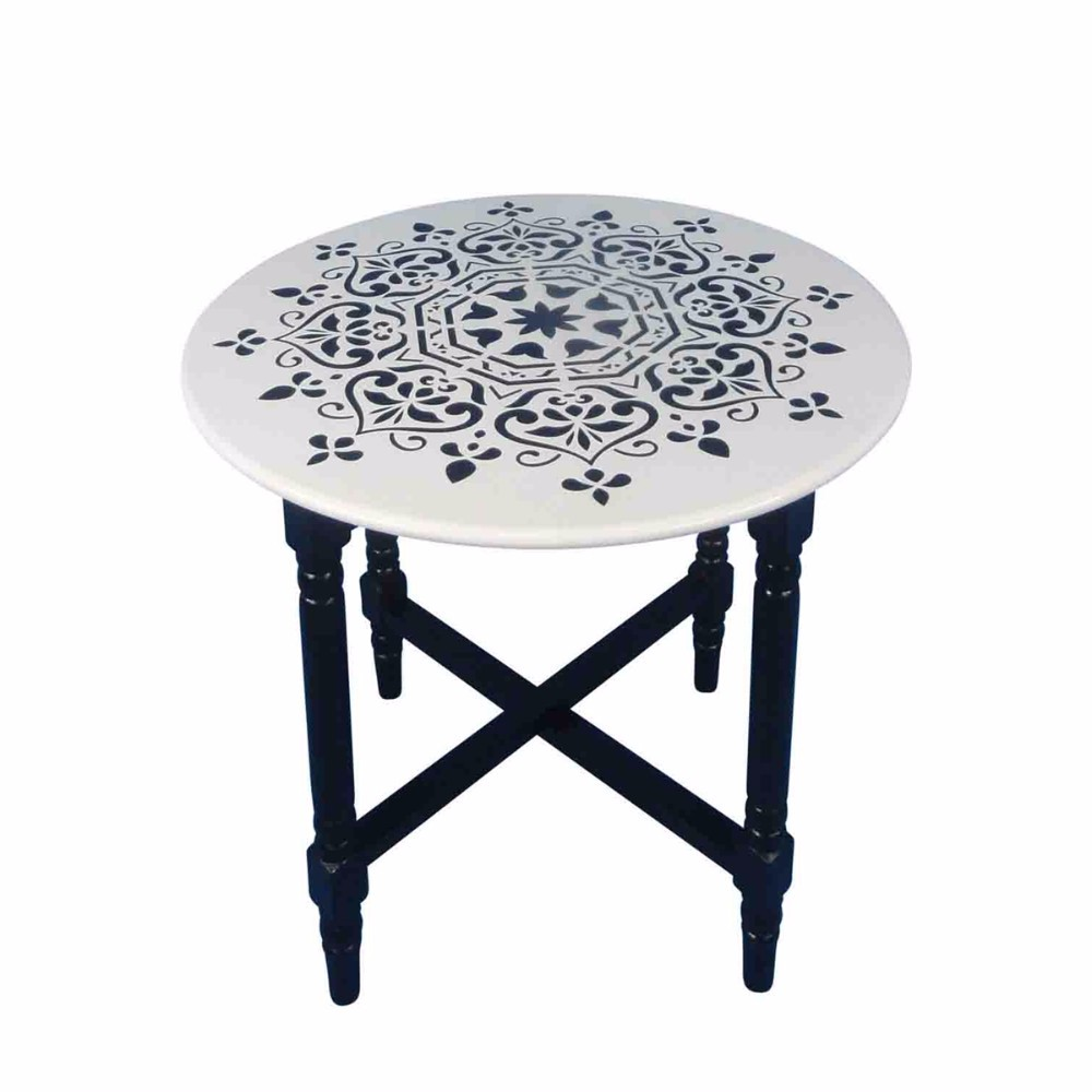 Decorative Cross Base Round Accent Table, Black And White by Benzara