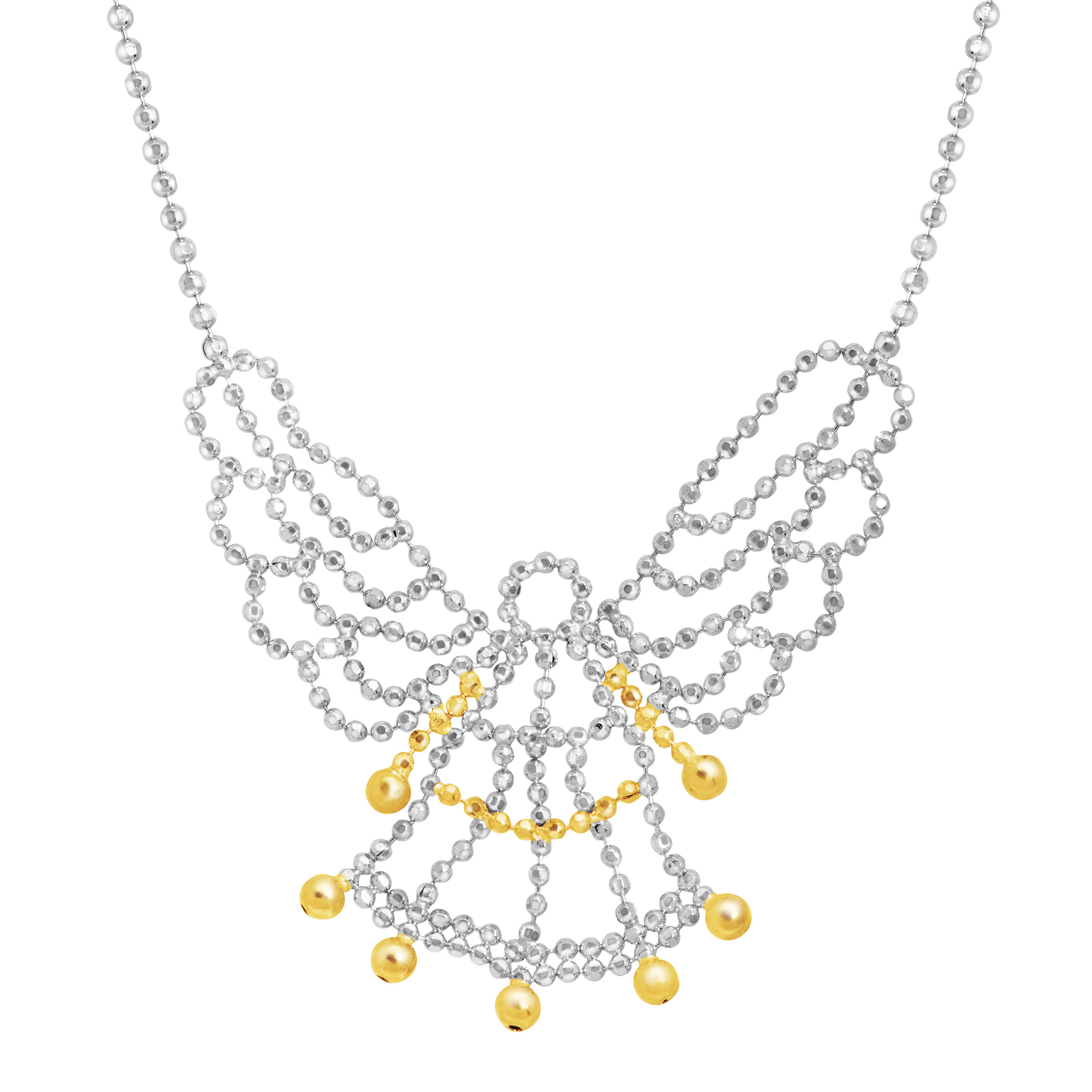 Guardian Angel Beaded Necklace in Sterling Silver & 10kt Gold
