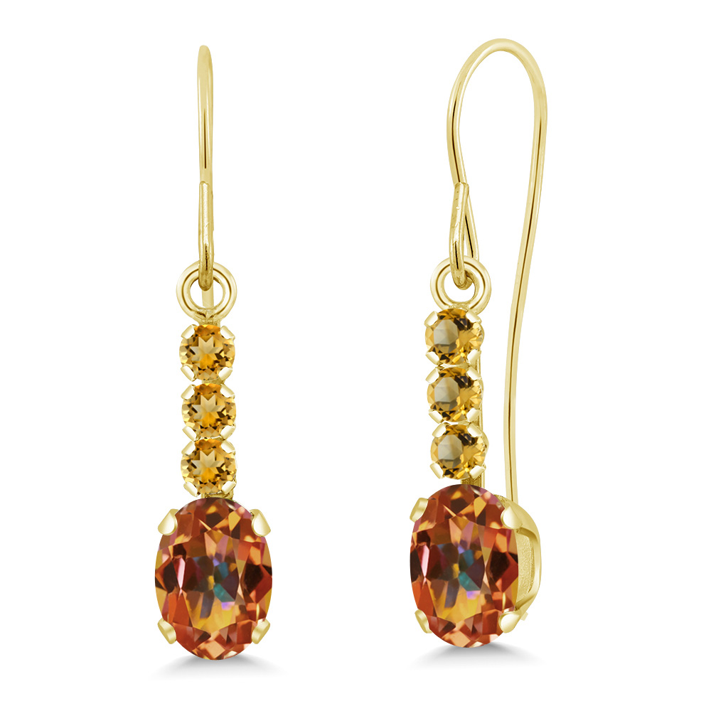 1.31 Ct Oval Ecstasy Mystic Topaz and Simulated Citrine 10K Yellow Gold Earrings