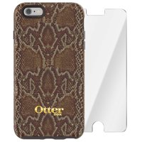 OtterBox Strada Series Limited Edition Protective Case And Alpha Glass Screen Protector for iPhone 6s PLUS & iPhone 6 PLUS - Wooded Serpent, Dark Brown Dark Snake Skin