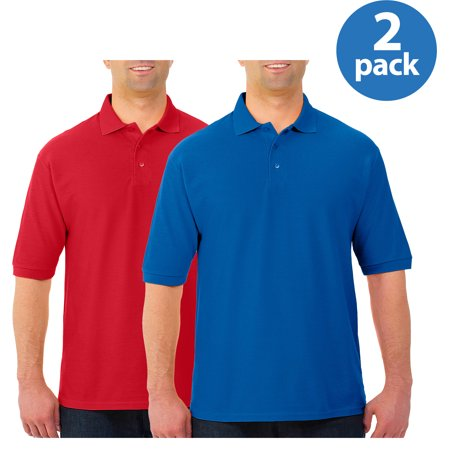 JERZEES Easy Care Mens Short Sleeve Polo Sportshirt, 2 Pack For