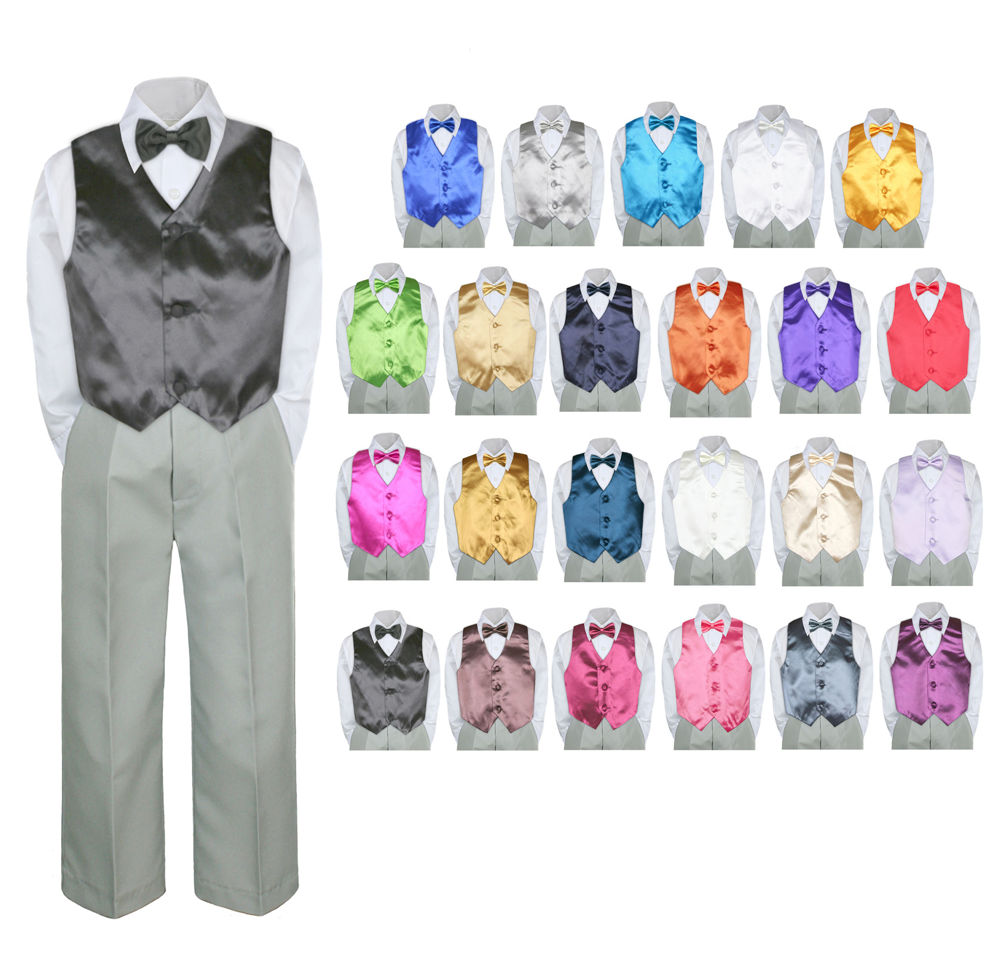 4PC Shirt Gray Pants Vest & Bow tie Set Baby Boy Toddler Kid Formal Suit Sm-7