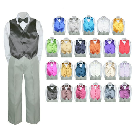 Light Grey Boys Suit (4PC Shirt Gray Pants Vest & Bow tie Set Baby Boy Toddler Kid Formal Suit)