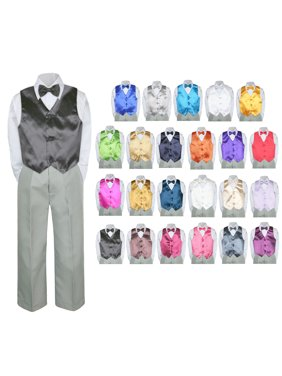 5b6f3909a881a Product Image 4PC Shirt Gray Pants Vest & Bow tie Set Baby Boy Toddler Kid Formal  Suit Sm