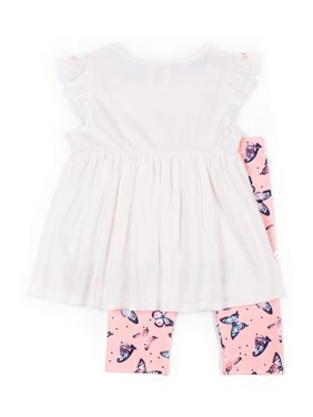Little Lass Smocked Bodice Flutter Sleeve Top and Butterfly Print Yummy Legging, 2-Piece Outfit Set (Little Girls)