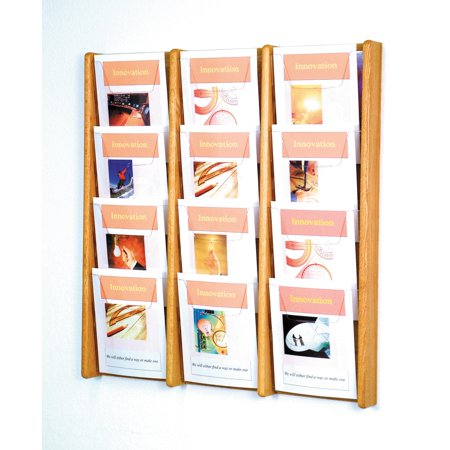 12-Pocket Solid Wood Wall Magazine Rack