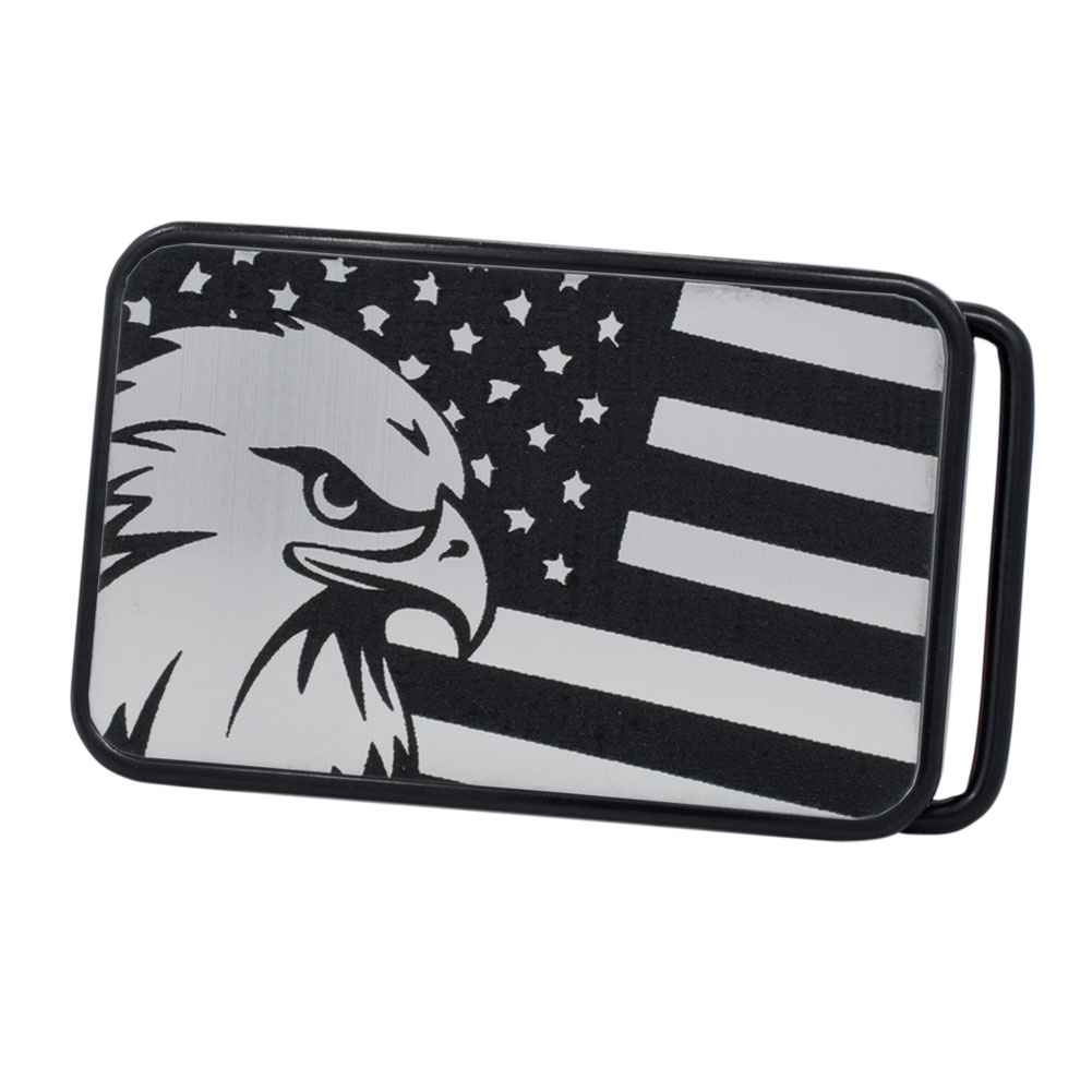 Buckle Rage American Flag & Bald Eagle Patriotic Rounded Rectangle Belt Buckle, BLACK, S1046-162-BLK