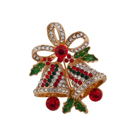 Lux Accessories Gold Tone Red Green Crystal Rhinestones Christmas Bell Pin