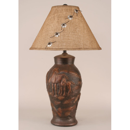 Coast Lamp Mfg. Rustic Living Horse Pot 30.5'' H Table Lamp with Empire Shade