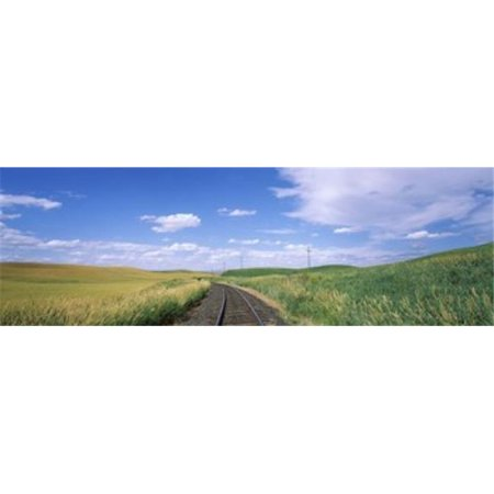Railroad track passing through a field  Whitman County  Washington State  USA Poster Print by  - 36 x 12 - image 1 of 1