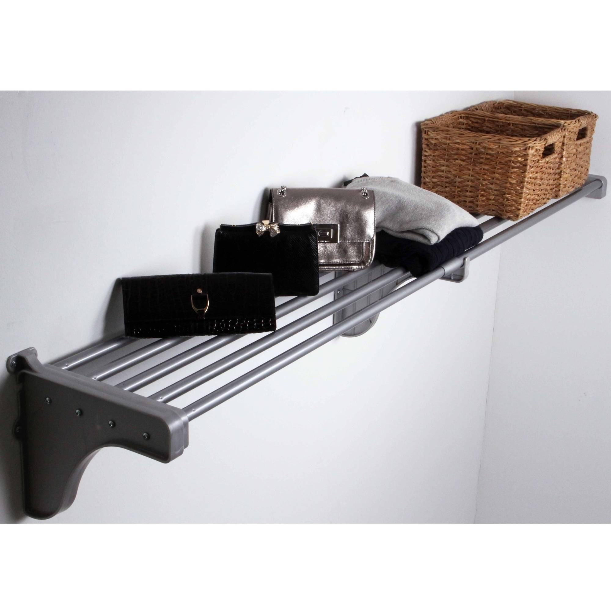 "EZ Shelf 40""-74"" Expandable Shelf, Silver, 1 Bracket"