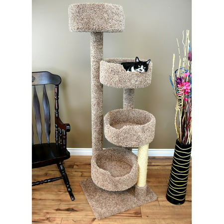 New Cat Condos 64-in Cat Tree & Condo Scratching Post Tower, Brown