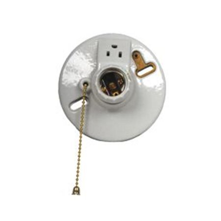 Porcelain Lampholder - Westgate M507CW3S-UL Porcelain Receptacle Ceiling Lamp Holders With Pull Chain Outlets