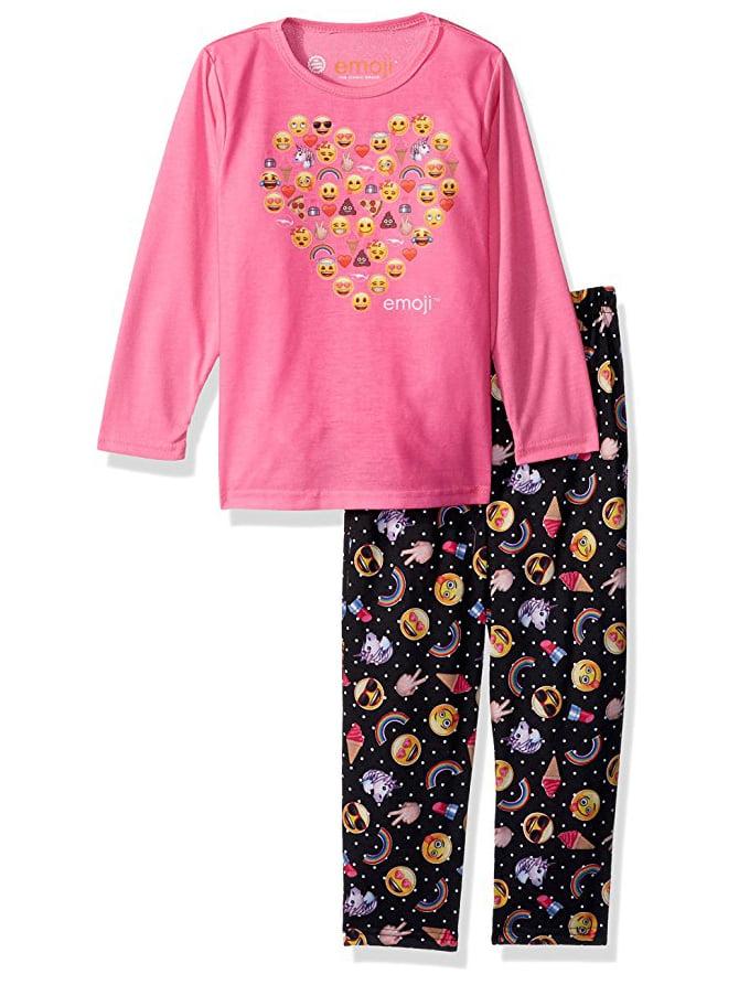 Emoji Long Sleeve Raglan Top & Pants Pajamas, 2-piece Set (Toddler Girls)