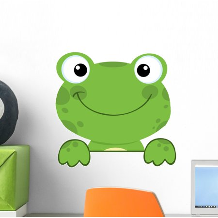 Cute Frog Smiling over Wall Decal Mural by Wallmonkeys Vinyl Peel and Stick Graphic for Girls (12 in W x 11 in (Mural Frog)