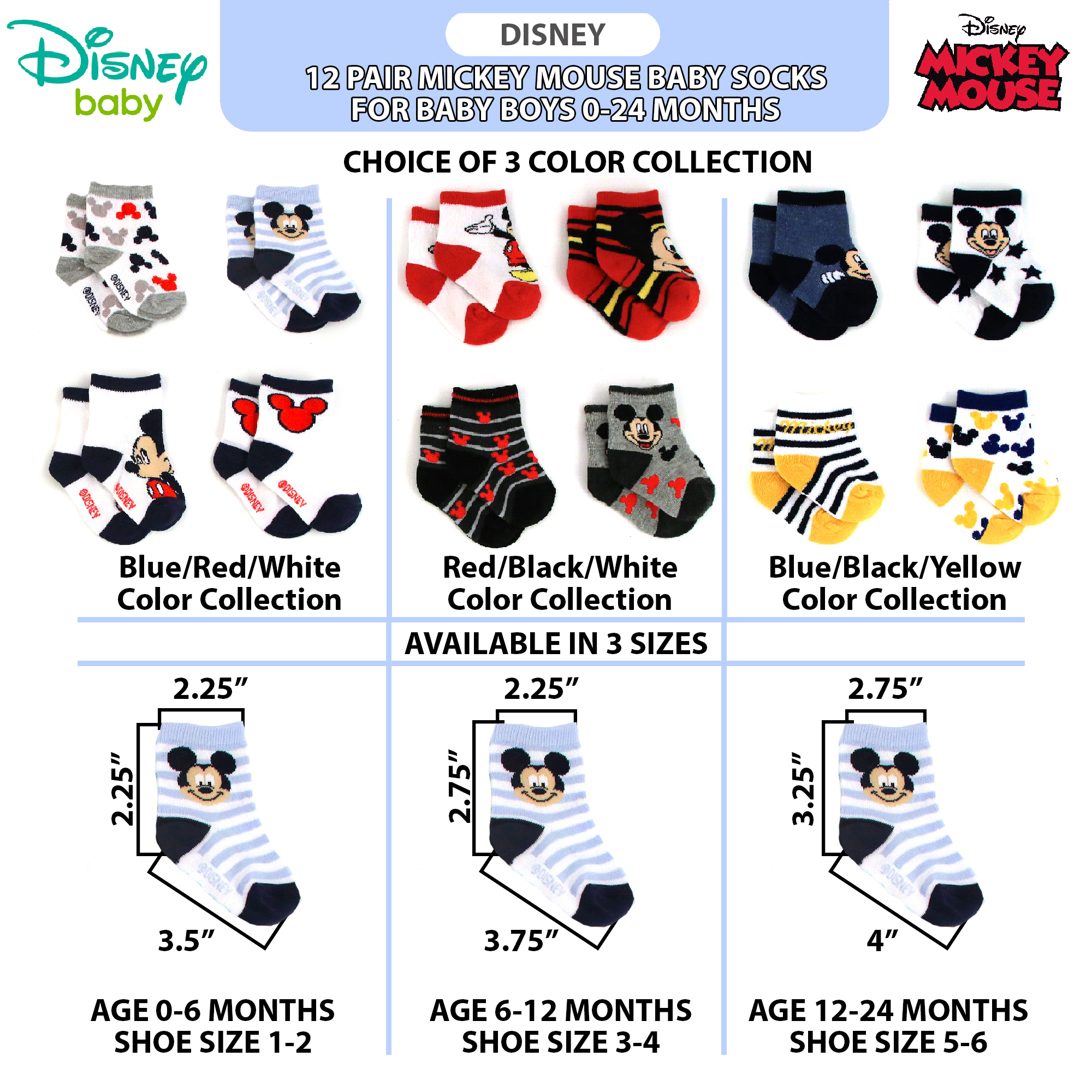 Disney Mickey Mouse 4-Pack Baby Toddler Safety Toes Socks 12-24M Shoes Size 3-5