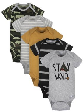 Gerber Organic Short Sleeve Variety Onesies Bodysuits, 5pk (Baby Boys)