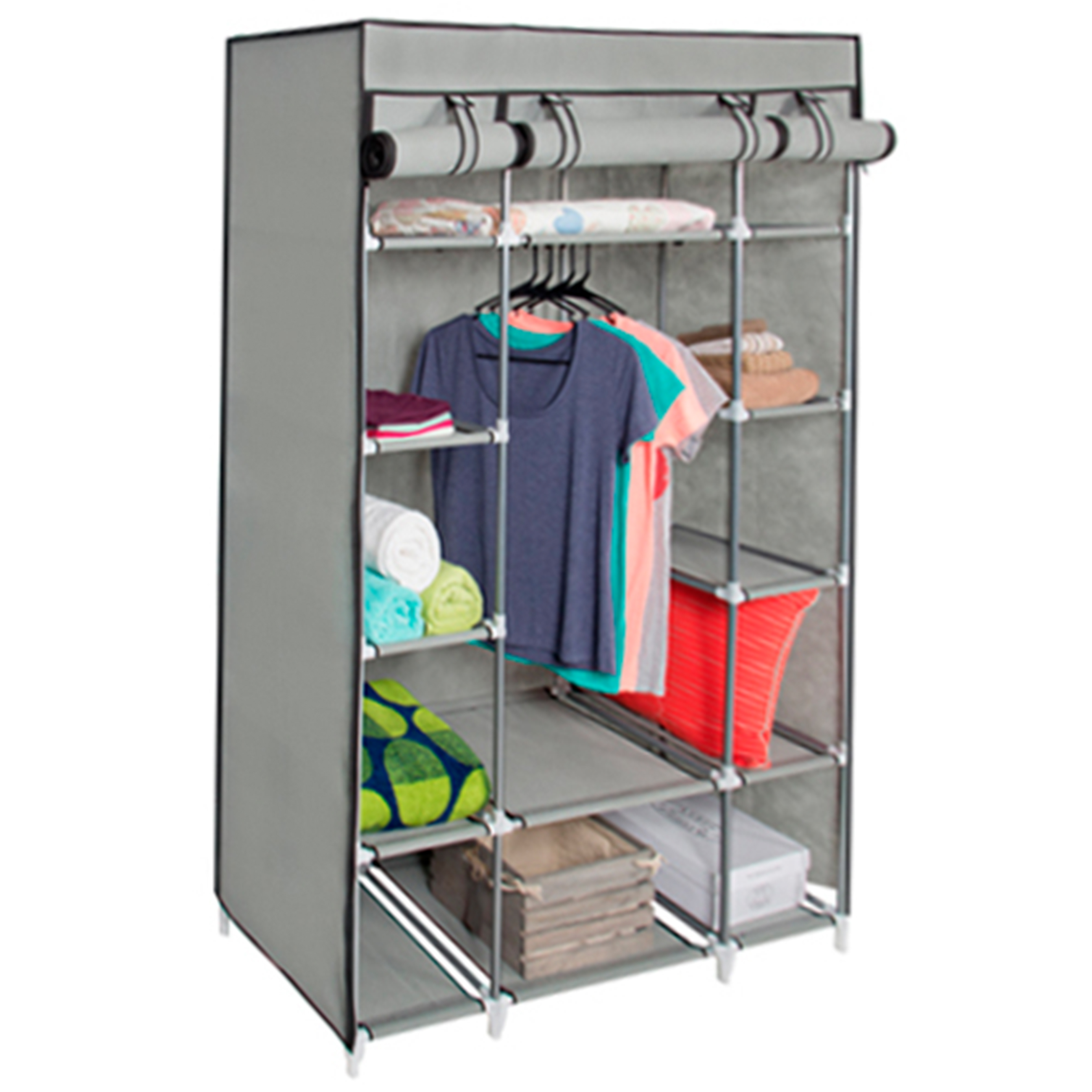 Best Choice Products 13-Shelf Portable Fabric Closet Wardrobe Storage Organizer w/ Cover and Hanging Rod - Gray