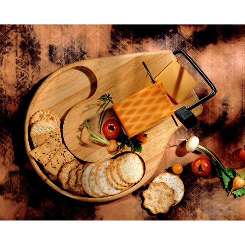 Prodyne Beechwood Round Contour Cheese Slicer/Server Tray