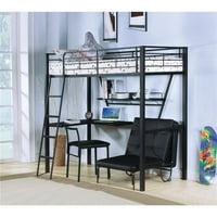 Benzara BM186052 Contemporary Metal Loft Bed with Desk, Black & Silver - 72 x 42 x 79 in.