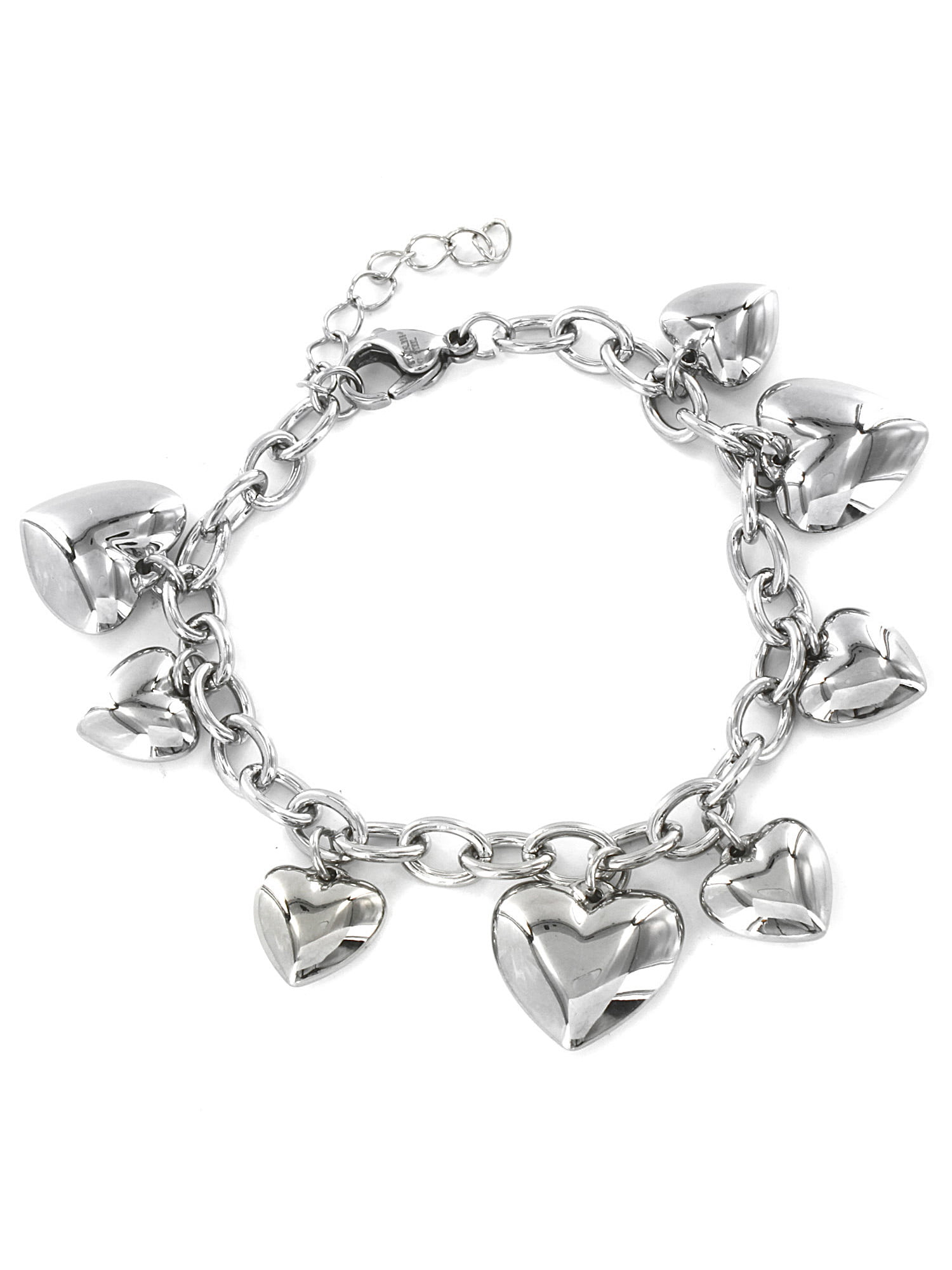 Jewels Obsession Heart Pendant Sterling Silver 22mm Heart with 7.5 Charm Bracelet