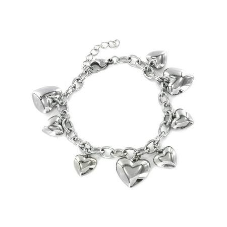 Polished Heart Charm Dangle Stainless Steel Bracelet (30mm) - 6.5
