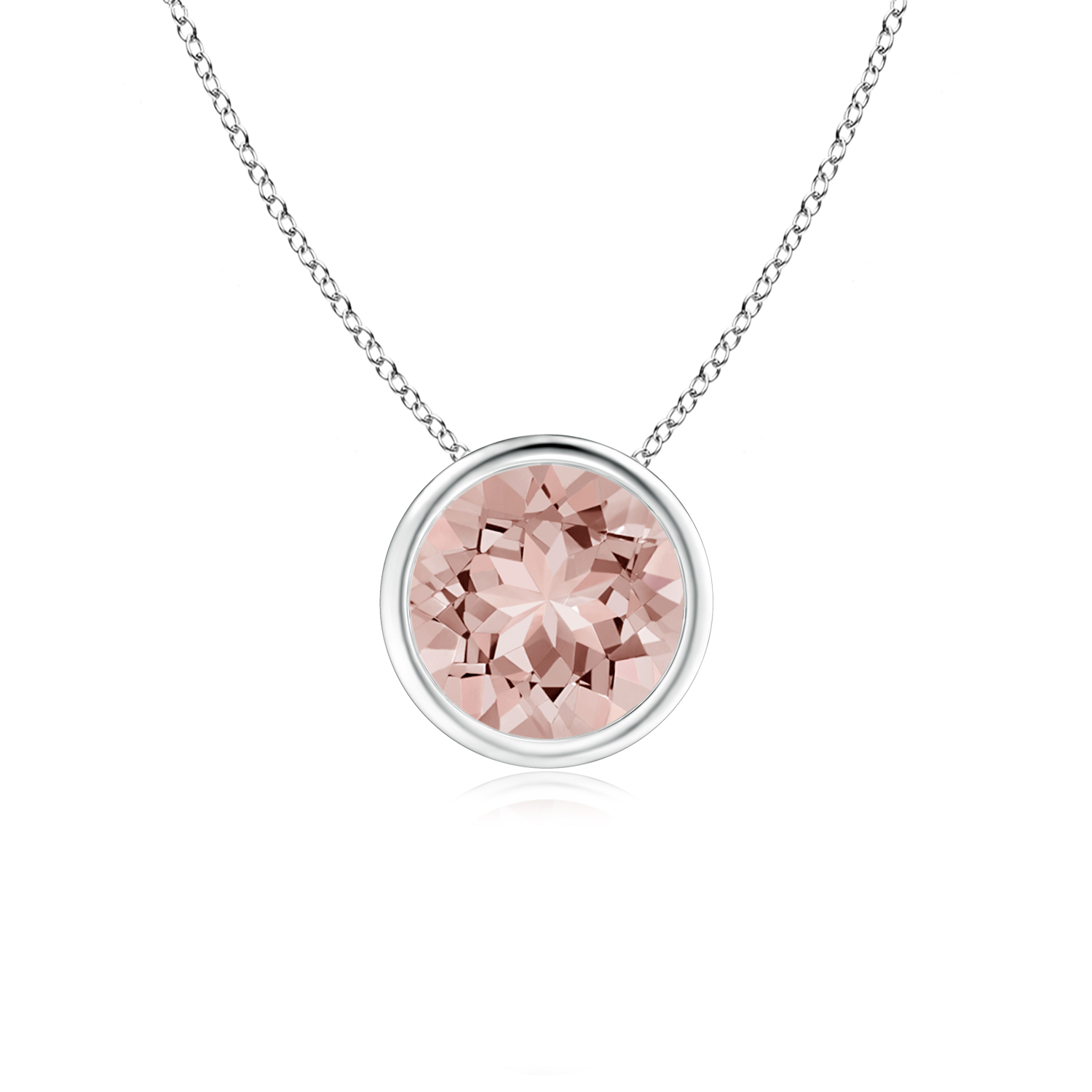 Bezel Set Round Morganite Solitaire Pendant in 950 Platinum (7mm Morganite) SP0159MG-PT-AAAA-7 by Angara.com