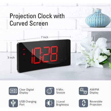 Alarm Clocks Pictek Projection Alarm Clock With 5 Led Curved Screen 4 Level Dimmer Usb Phone Charging Port 120 Rotatable Projector Easy Operation Snooze Digital Clock For Bedroom Kid Senio Walmart Canada