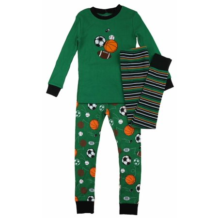 Kirkland Signature - Kirkland Signature Boy s 3 Piece Mix and Match Organic  Cotton Pajama Set (Green Sports 3300b3707