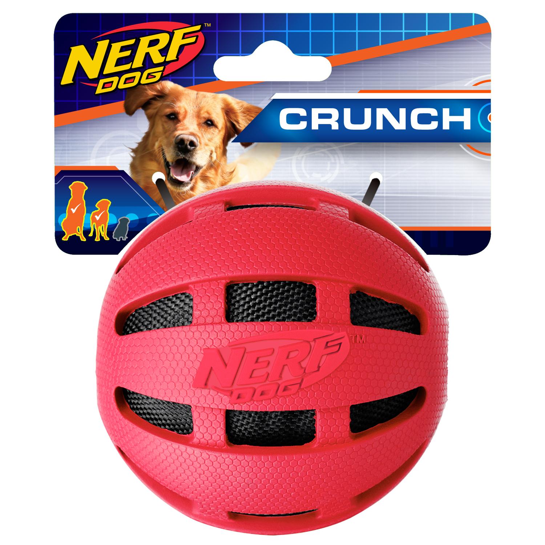 Nerf Dog 3.8in Checker Crunch Ball, Red Dog Toy
