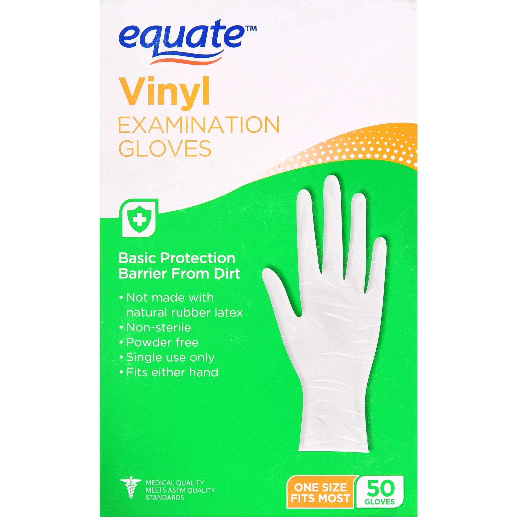 Equate Vinyl Examination Gloves, One Size, 50 Ct