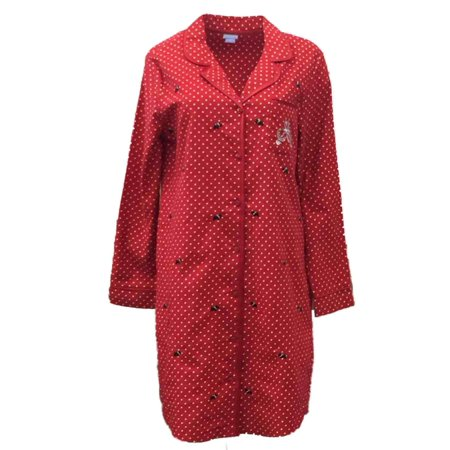 1d32a346cc7 Laura Scott - Laura Scott Womens Red Polka Dot Flannel Nightgown Scottie  Dog Sleep Shirt - Walmart.com