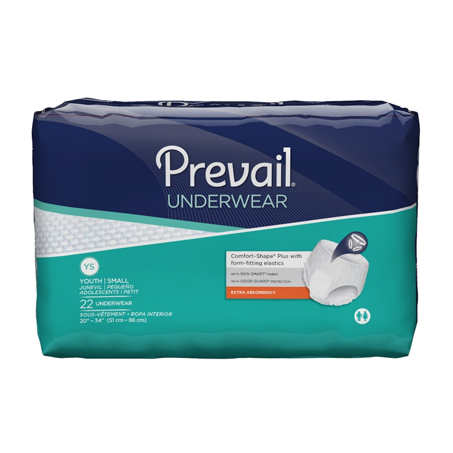 Prevail Extra Youth Absorbent Underwear Pull On Disposable Moderate Absorbency Small 20 - 34 Inch, 2 Packs of 22