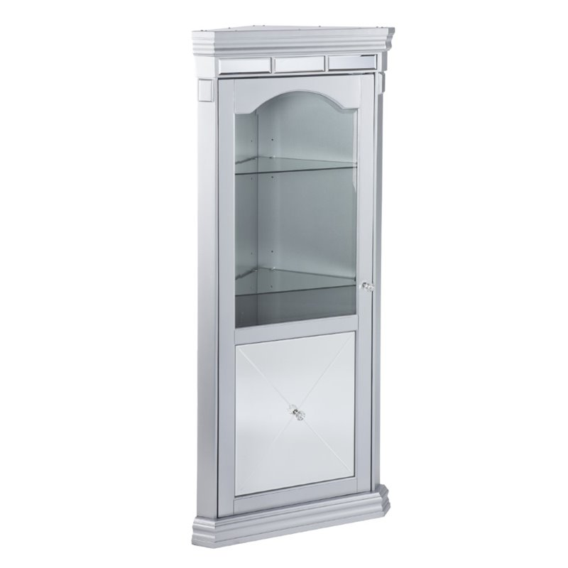 Southern Enterprises Mirage Corner Curio Cabinet in Matte Silver by Southern Enterprises