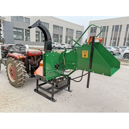 Wood Chipper Tractor Attachment 3 Point PTO Cutter Mulcher Shredder, Hydraulic Feed, 200lb Flywheel, Fits Tractors 19 HP+, Cat 1 Cat 2, 3-Point Hitch, 8 x 8 Inch Feed, 1 Yr Parts Warranty, Model WC8H