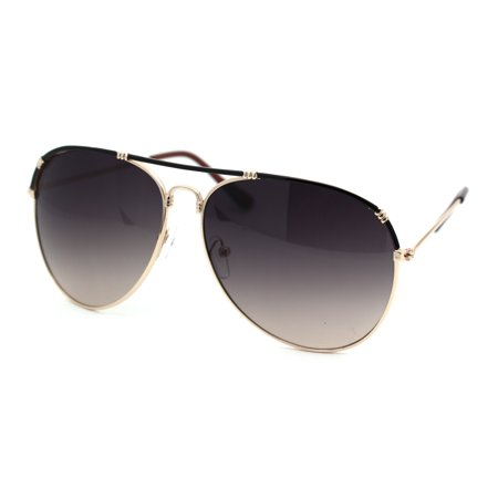 Luxury Flat Top Officer Style Cop Metal Rim Sunglasses Gold Black (Cop Style Sunglasses)