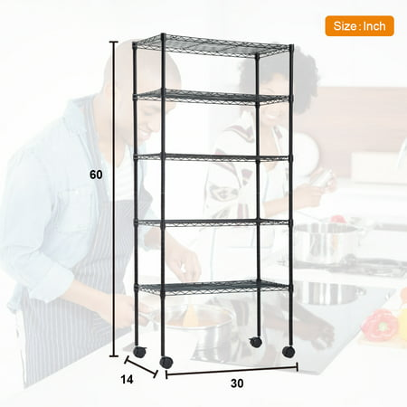 "14""D x 30""W x 60""H 5-Tier Wire Shelving Unit NSF Certification Storage Organizer Height Adjustable Commercial Grade Heavy Duty Utility Metal Rack for Garage Office kitchen on Wheels,Black (Metal Shelf Wheels)"