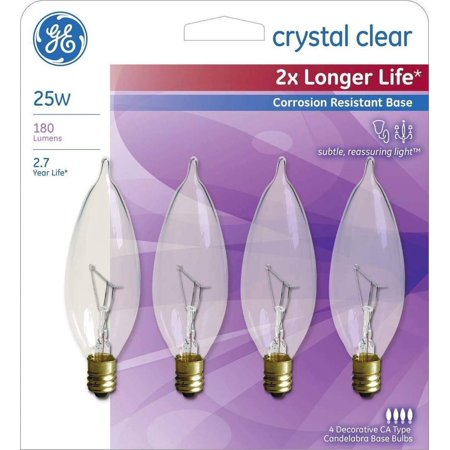 60w Double Life - GE 25-Watt Incandescent CA10 Bent Tip Candelabra Base Double Life Light Bulbs (4 Bulbs)