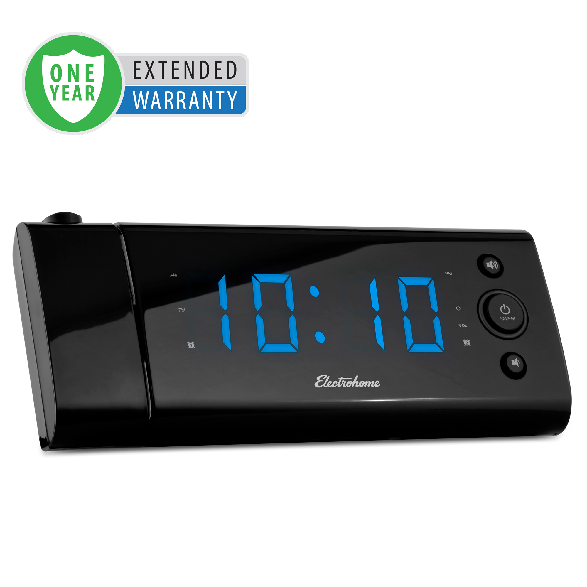 """Electrohome USB Charging Alarm Clock Radio with Time Projection, Battery Backup, Auto Time Set, Dual Alarm, 1.2"""" LED Display for Smartphones & Tablets - 1 Year Extended Warranty"""