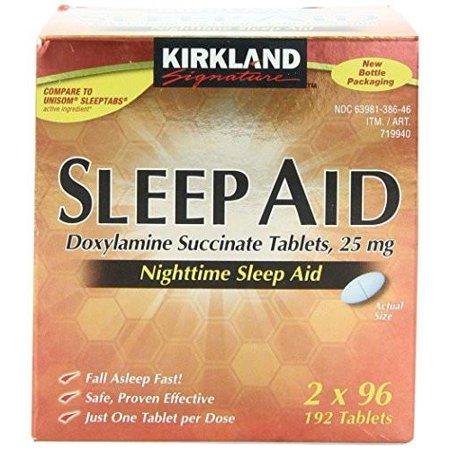 Kirkland Sleep Aid Doxylamine Succinate 25Mg Sleeping   2 Bottles  192 Tabs