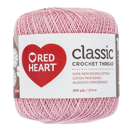 Red Heart Classic Cotton Size 10 Crochet Orchid Pink Thread, 1 Each ()