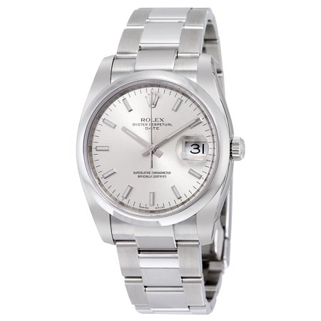 Pre-owned Rolex Oyster Perpetual Date 34 Silver Dial Stainless Steel Bracelet Automatic Men's Watch