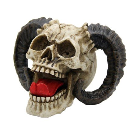 Laughing Demon Skull with Horns Halloween Figurine Demonic Decoration Sculpture
