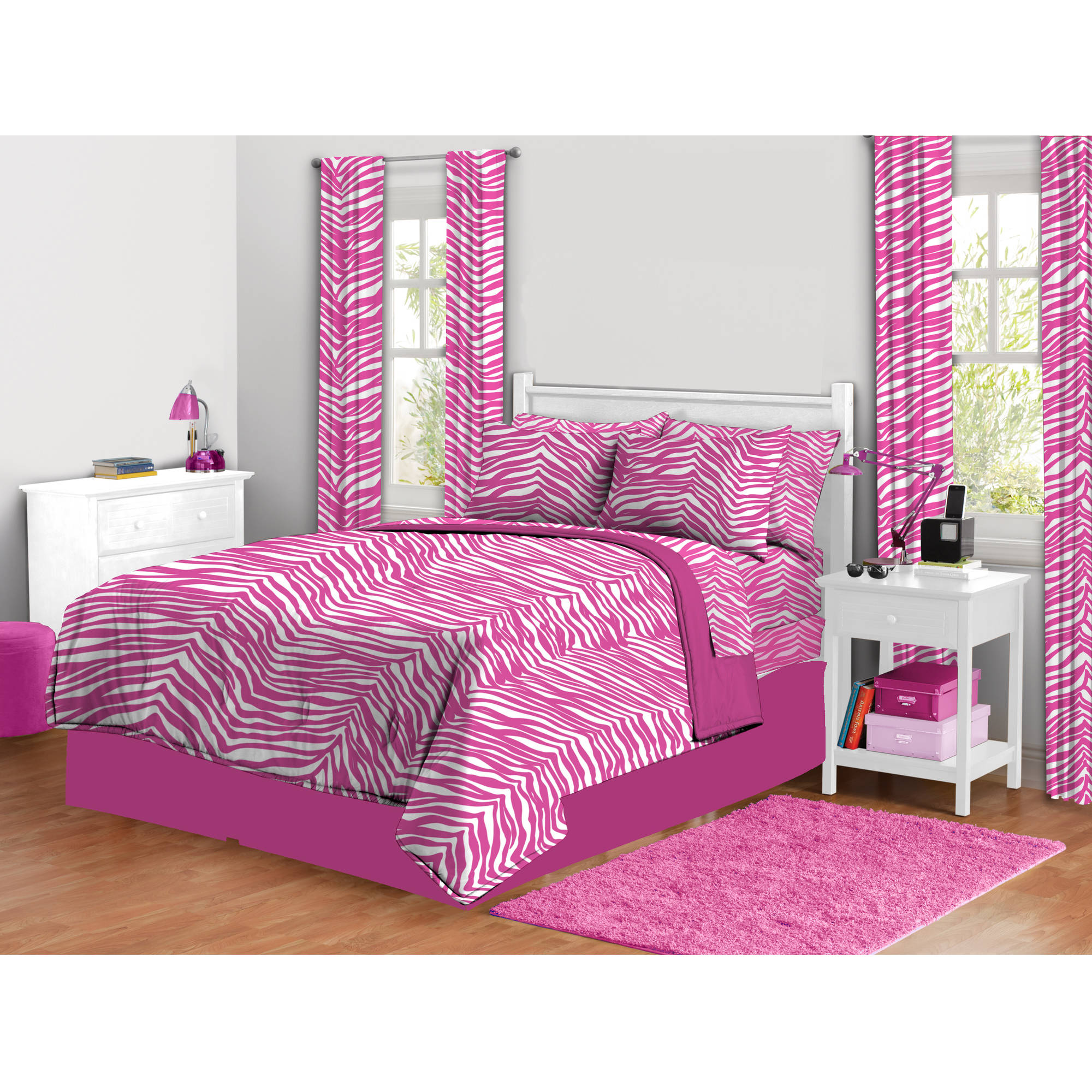zebra print complete bed in a bag bedding set - walmart