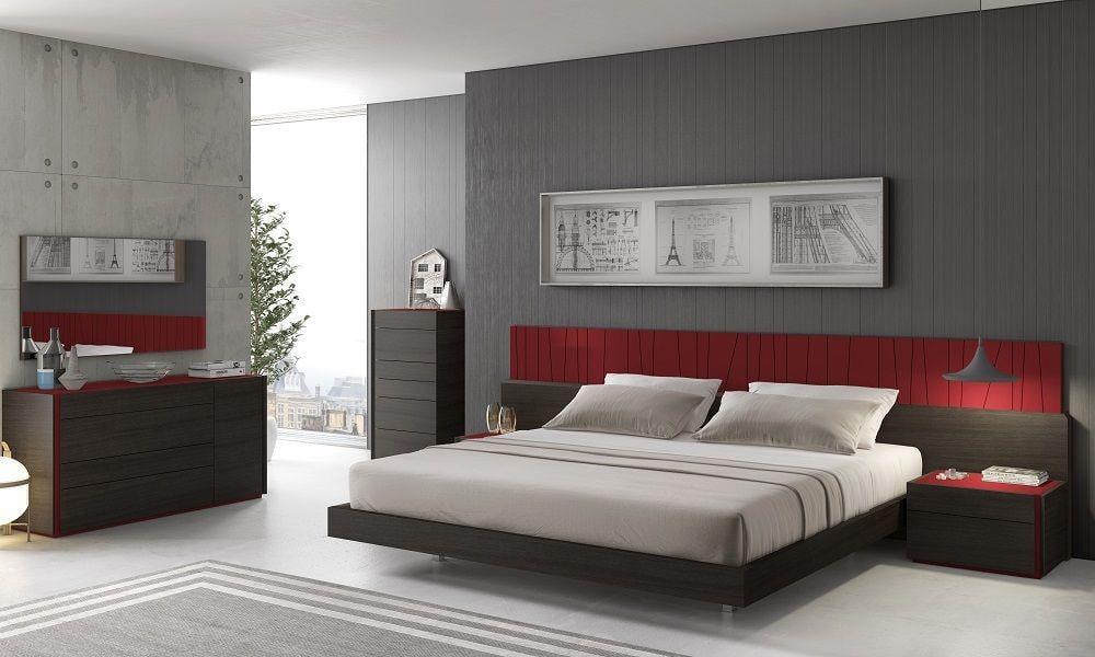 Light Grey Lacquer & Wenge Veneer Queen Bedroom Set 3Pcs J&M Lagos  Contemporary - Walmart.com