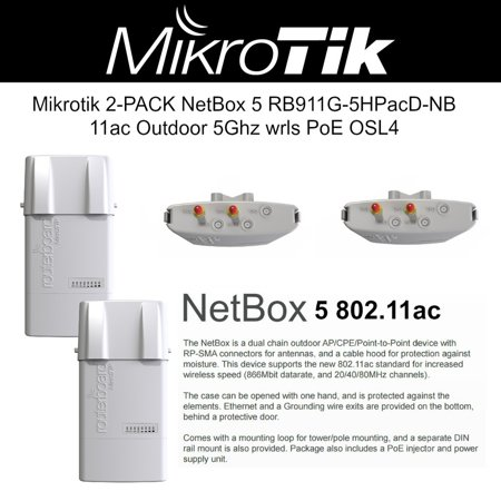 Mikrotik 2-PACK NetBox 5 RB911G-5HPacD-NB 11ac Outdoor 5Ghz wrls PoE OSL4