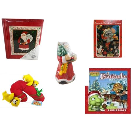 Holiday Fruitcake - Christmas Fun Gift Bundle [5 Piece] - Lego Merry  20 Page Photo Album - Vintage Designed Stocking Hanger Mouse - Wax Santa Candle 7