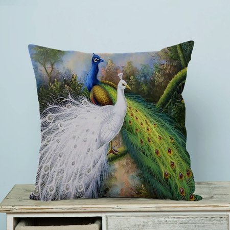 GCKG Beautiful Peacock Pillow Case Pillow Cover Pillow Protector Two Sides 18 x 18 (Beautiful Pillow)